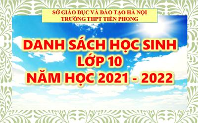 Danh sách học sinh lớp 10 năm học 2021 - 2022