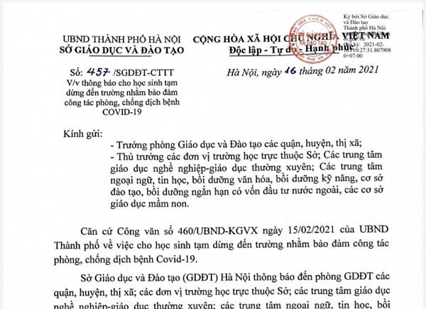 Thông báo cho học sinh tạm dừng đến trường phòng dịch Covid-19